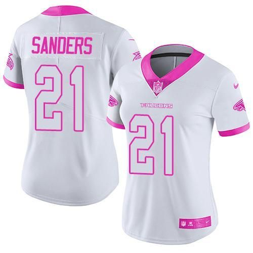 Nike Falcons #21 Deion Sanders White Pink Women's Stitched NFL ...