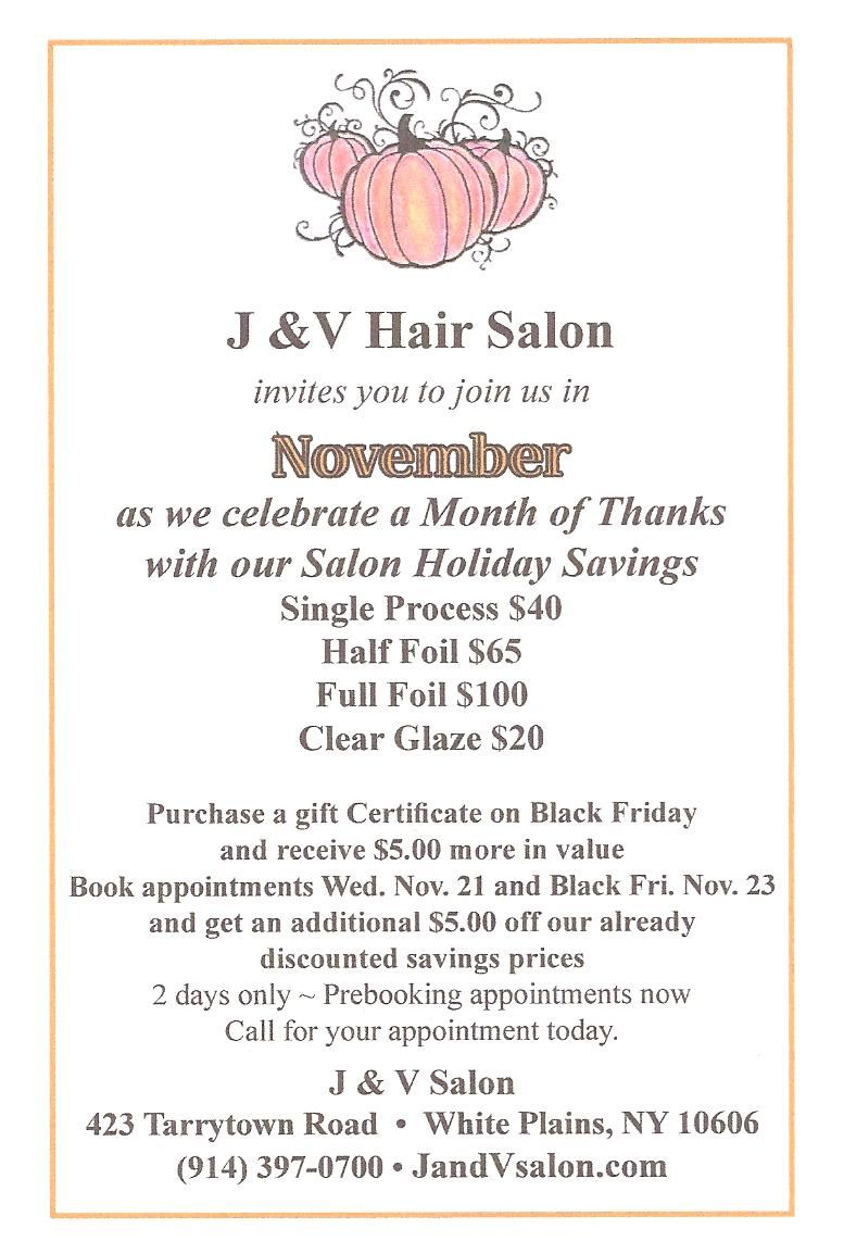 Thanksgiving Salon Special  Salon promotions, Beauty salon