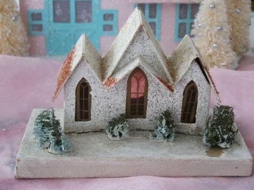 Vintage Christmas Putz Cardboard Village House Church Sponge Trees Christmas Village Houses Glitter Houses Putz Houses
