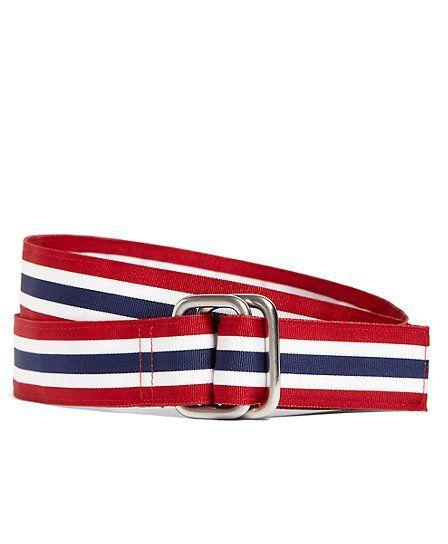 9ed9b28e BBros. Red, White and Blue Striped Ribbon Belt Navy-Red-White   Man ...