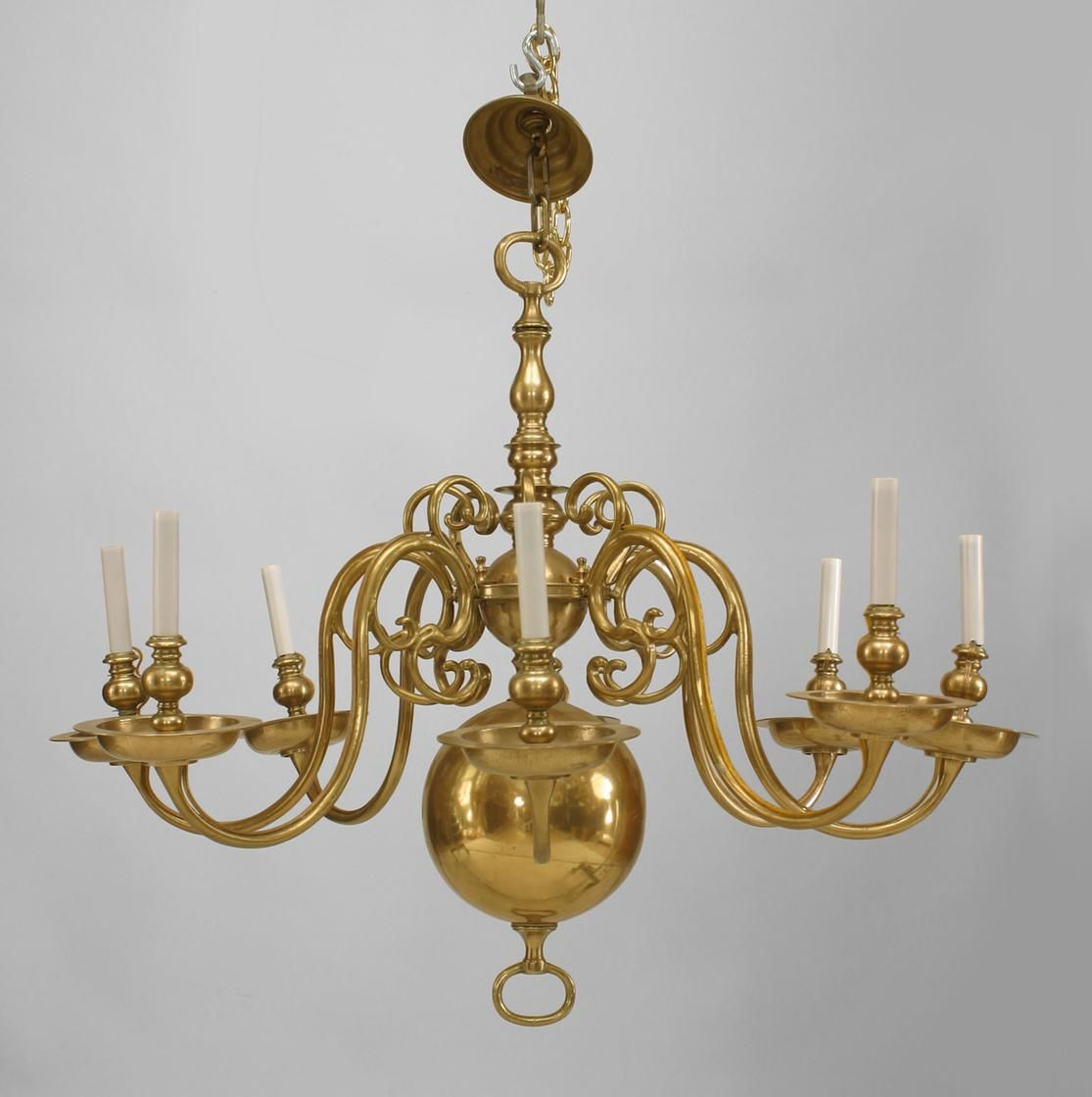 English Georgian Style Brass Chandelier With 8 Scroll Form Arms And An Open  Ring Bottom(