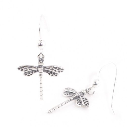Sterling Silver Jewellery Uk Tiny Oxidised Dragonfly Earrings