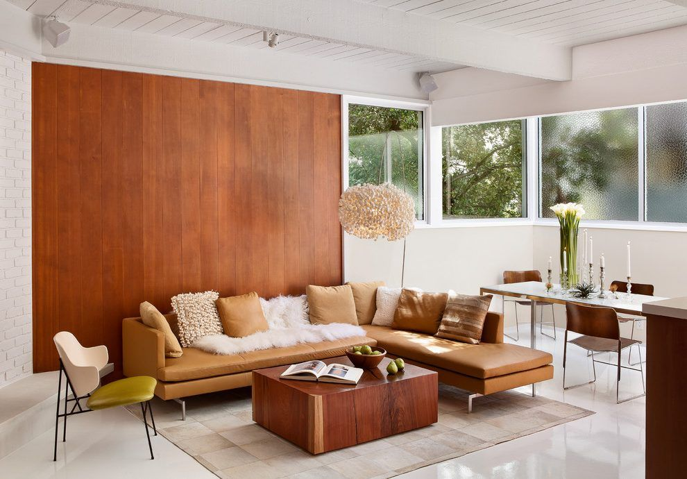 Modern Accent Wall Ideas Living Room Midcentury With Wood