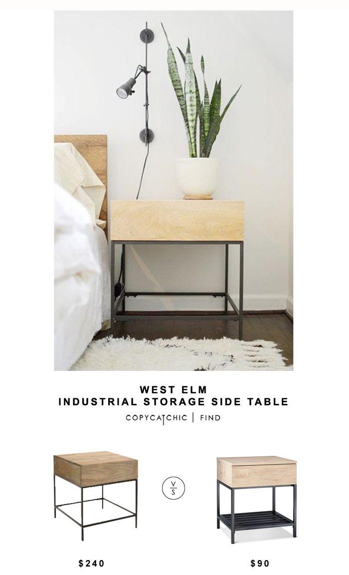 West Elm Industrial Storage Side Table Copycatchic Side Tables Bedroom Bedroom Night Stands Minimalist Nightstand