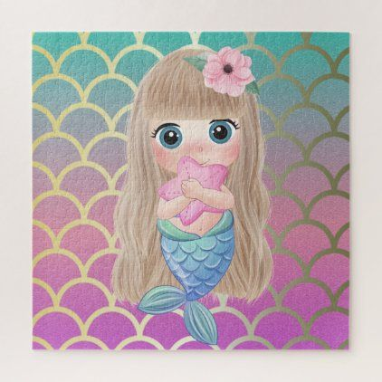 Cute Baby Mermaid Ombre Mermaid Teil Scales Jigsaw Puzzle