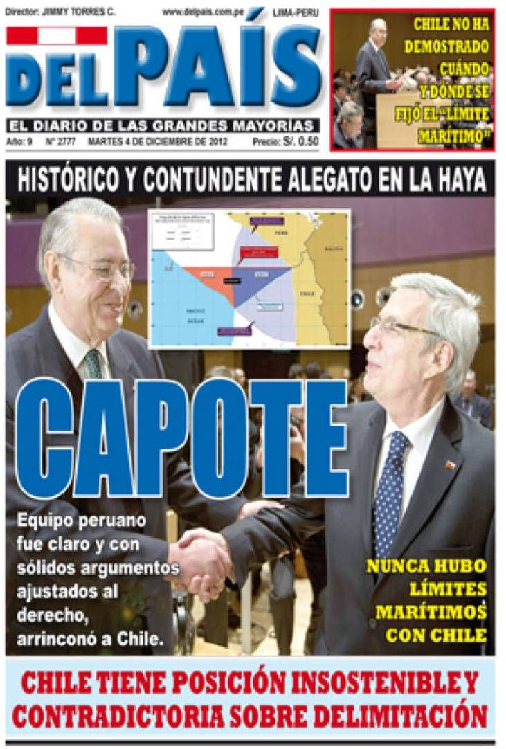 Primer día de alegatos. Perú - 03.12.12 (Del País - Perú - 04.12.12). #LaHaya #Peru #Chile