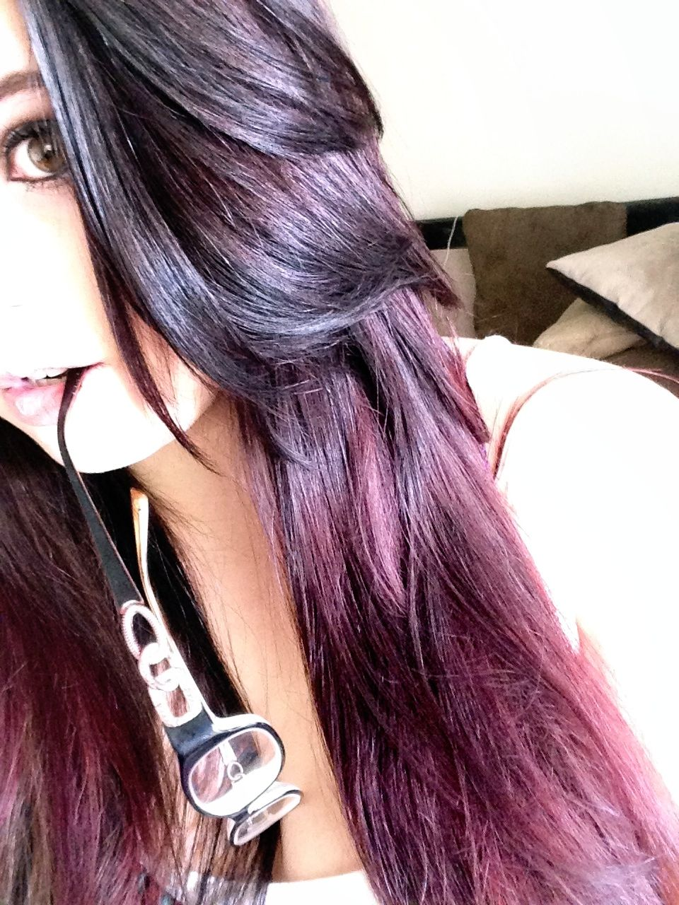 Images For > Brown Hair With Purple Highlights Underneath ...