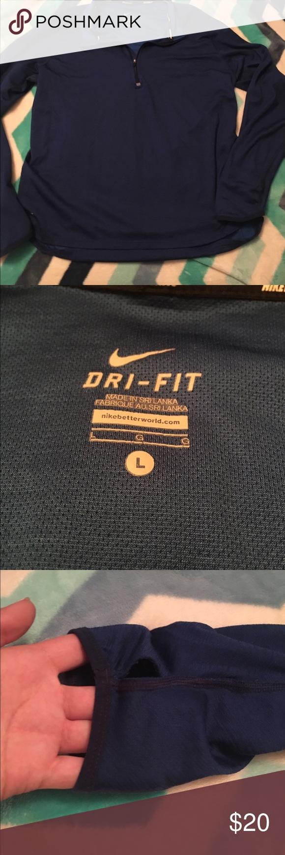Nike dri fit running wind breaker Blue nike dri for running half zip hoodie size large. Has thumbs holes also Nike Tops Sweatshirts & Hoodies