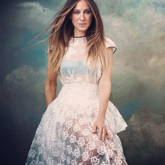 Sarah Jessica Parker in an #Erdem top, #SimoneRocha skirt, and #DolceGabbana bra #netaporter #edit #cover #photoshoot #sjp #sjpstyle #sarahjessicaparker