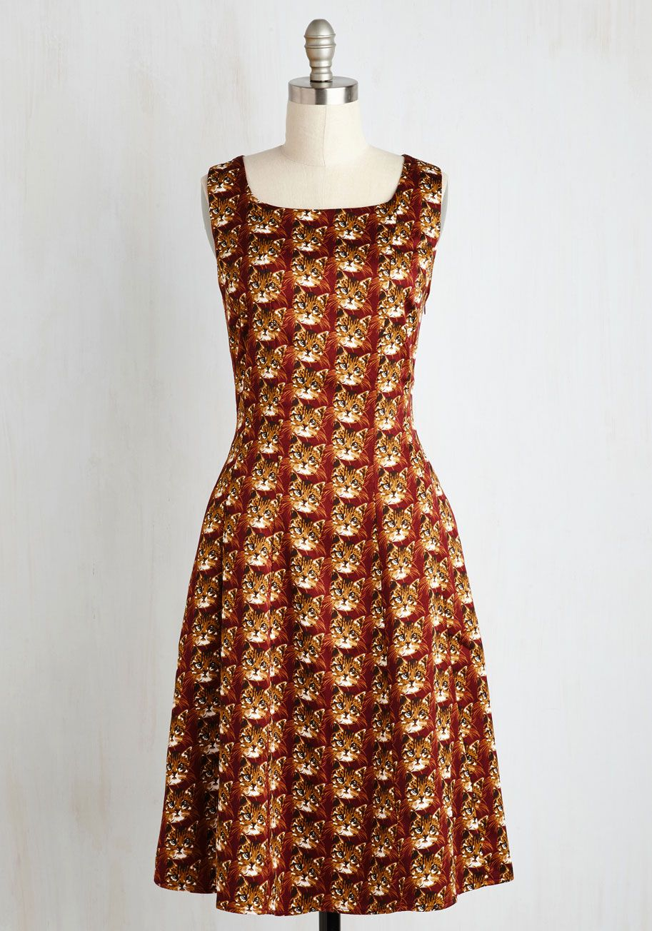 fad513000a1e5 Meow Are You? Dress. If you could use a mood boost, just let yourself be  whiskered away by the whimsical wonder of this printed A-line! #brown  #modcloth
