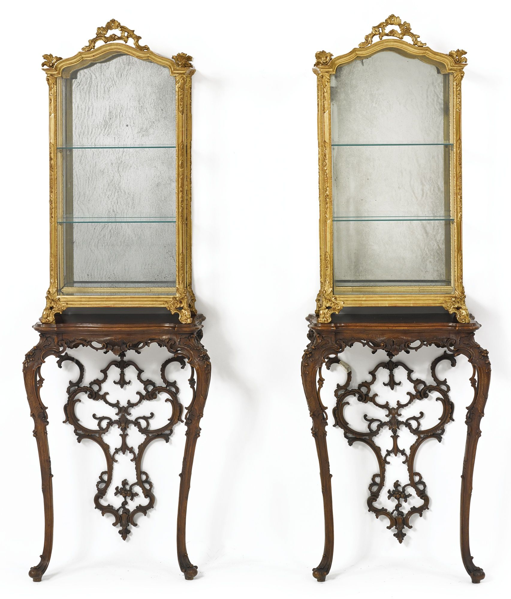 Vintage Furniture A Pair Of Italian Rococo Style Giltwood Vitrines