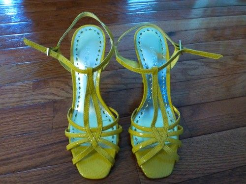 BCBGIRLS Sexy, Strappy Yellow Leather heels, size 6