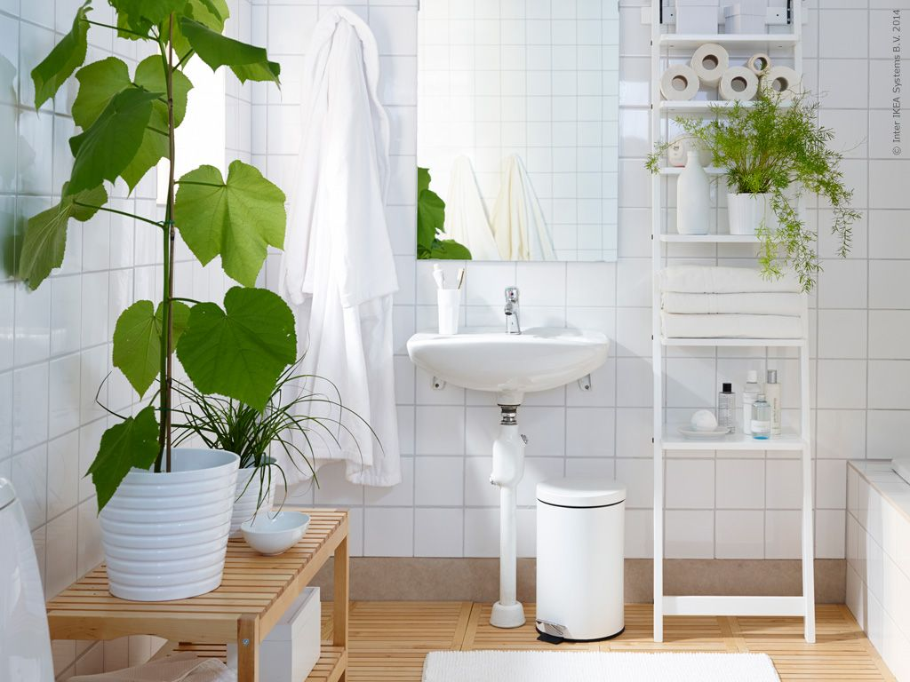 white and wood and green plants, bathroom inspiration from IKEA | La ...