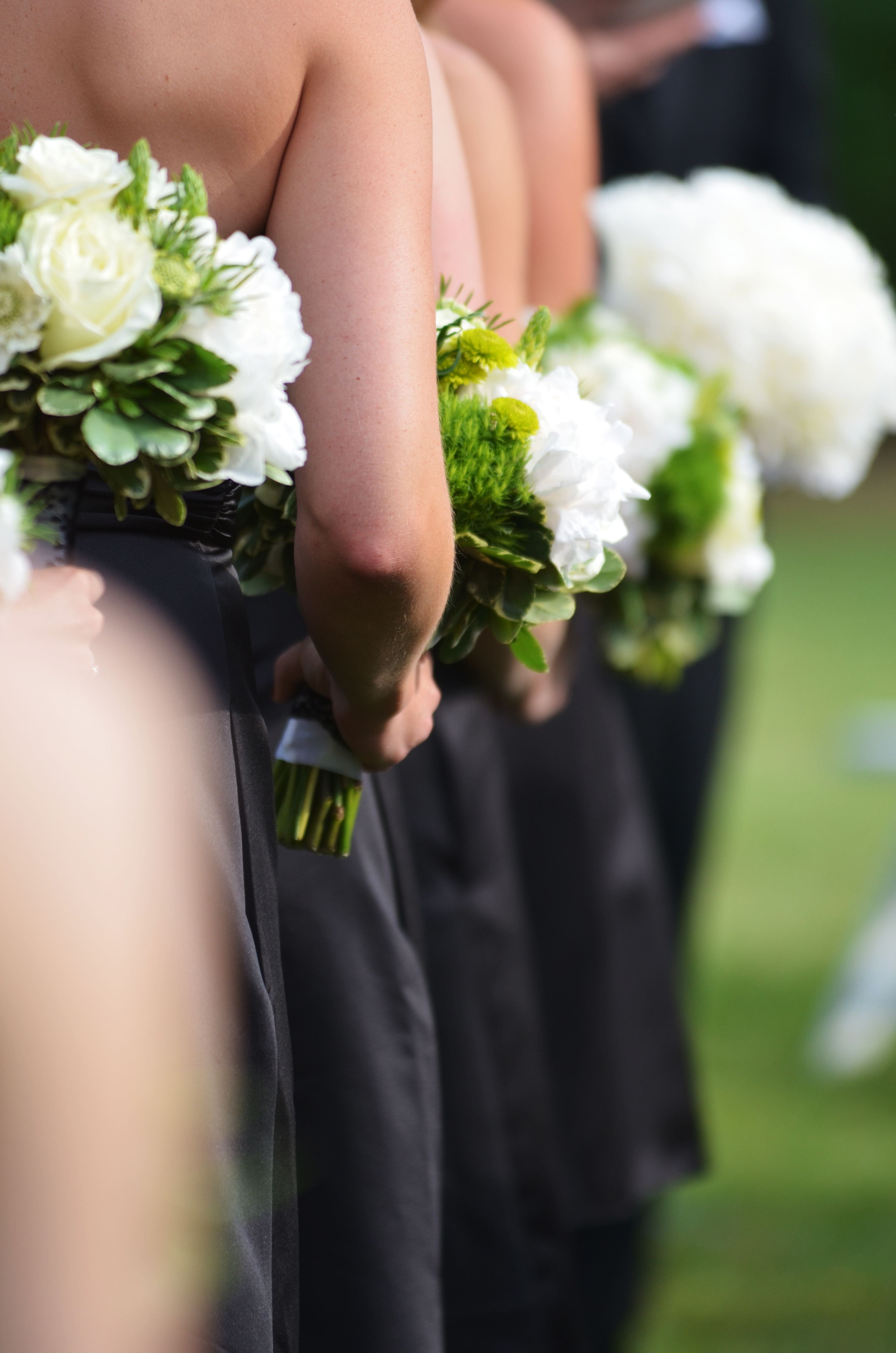 Bridesmaids In Black With Green Bouquets Black Lace On Stems