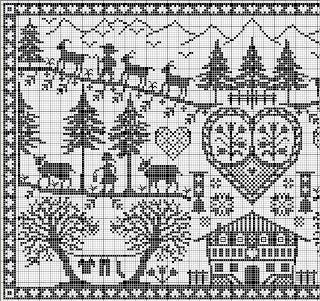 Scene with house, trees, heart cross stitch left face (right also available on site) so you can connect for full piece......