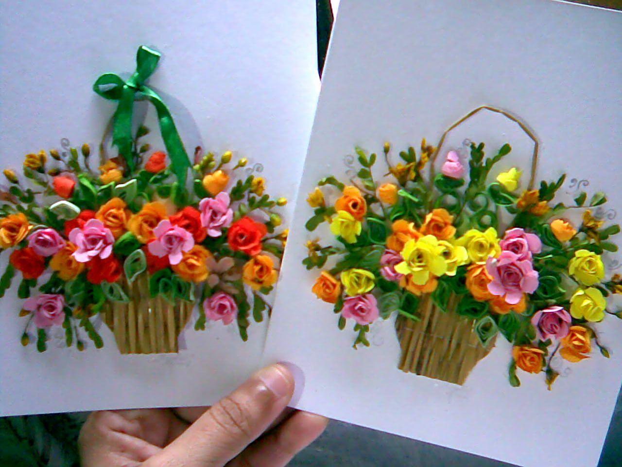открытка в виде букета цветов своими руками