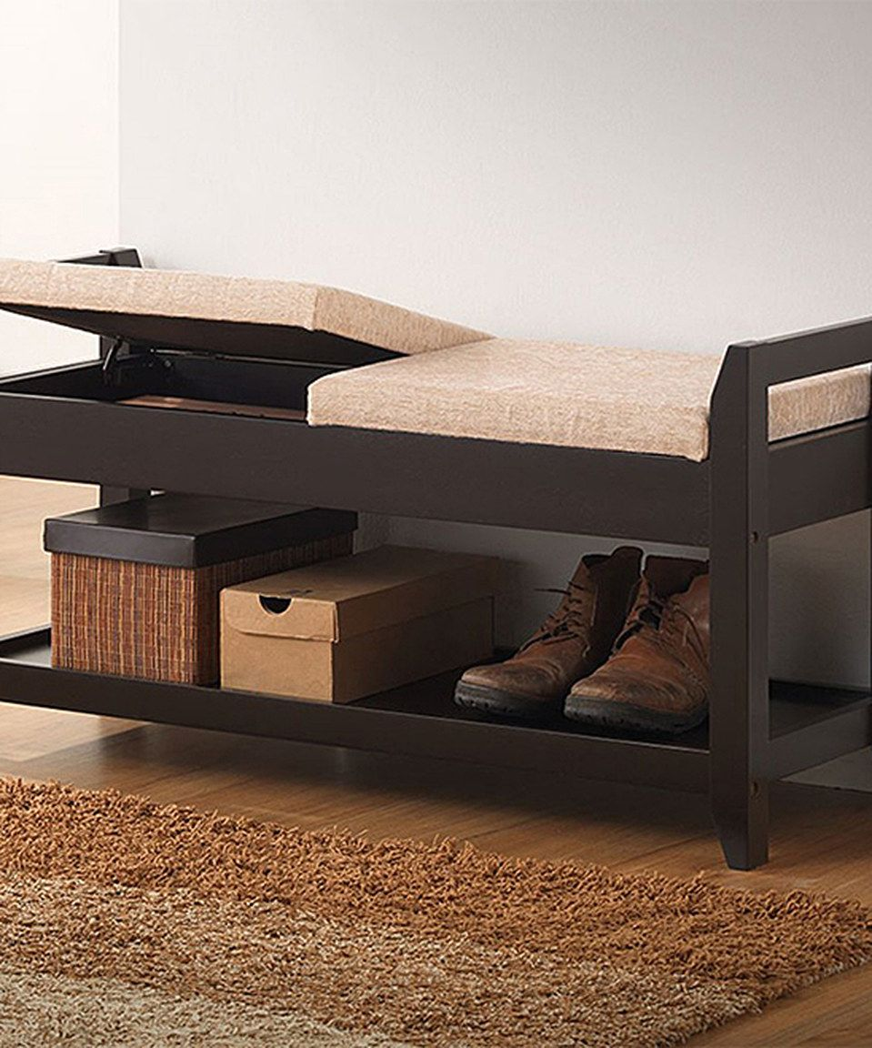 Hallway storage and seating  Look what I found on zulily Brown Shoe Storage Bench by Baxton