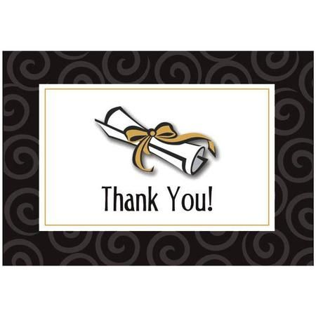 """Our Graduation Thank You Notes feature a shiny silver raised diploma on the front and reads """"Thank You!"""". Open the card to write your personal message. Thank You Notes have a silver metallic sheen inside. Package includes 50 cards each measuring approximately 4 3/4in x 3 1/4in."""
