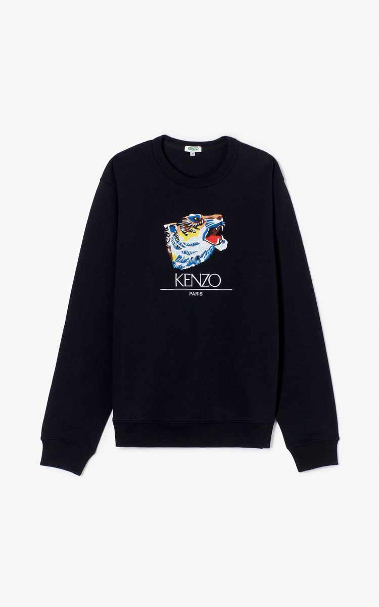 b22f821eeec BLACK 'Tiger Head' Sweatshirt 'Go Tigers Capsule' for men KENZO ...
