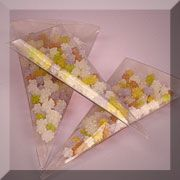 Clear Triangle Boxes for flower petals to throw at ceremony