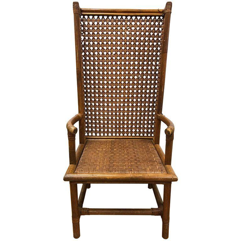 Danish midcentury tall rattan wicker wingback chair 1