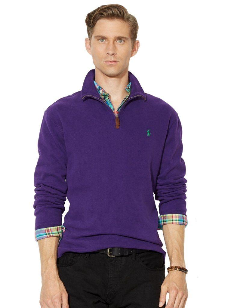 Polo Ralph Lauren Men\u0027s Half Zip French Rib Cotton Sweater Medium College  Purple | Classic Mens Threads | Pinterest | Polo ralph lauren and Polos
