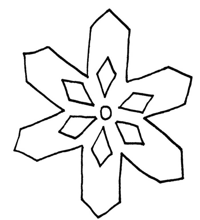snowflake with a simple pattern coloring page snowflake coloring - Snowflake Coloring Pages Kids