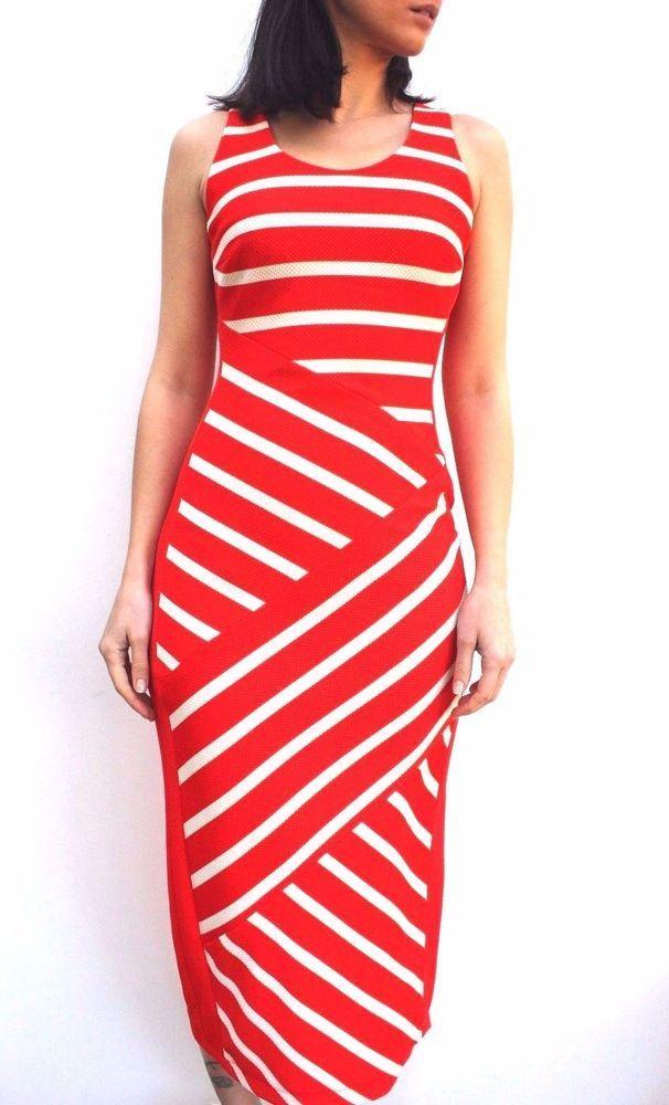 Karen Millen DA123 Red Stripe Bodycon Midi Cruise Party Long Dress 6 - 16  New   e614fb4b3