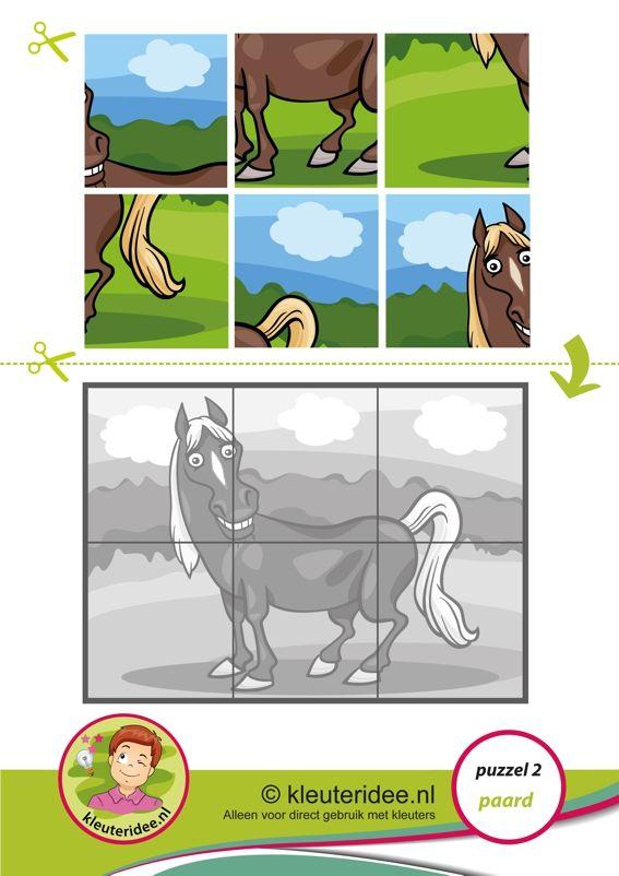 2. Puzzel paard, kleuteridee, thema boerderij, Preschool horse puzzle, free printable op A3 of A4 formaat