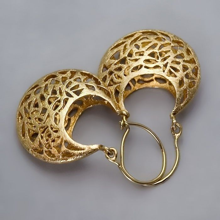 Handmade Gold Earrings Lace Golden Small Basket 14k Coated Jewelry 120 00 Via Etsy