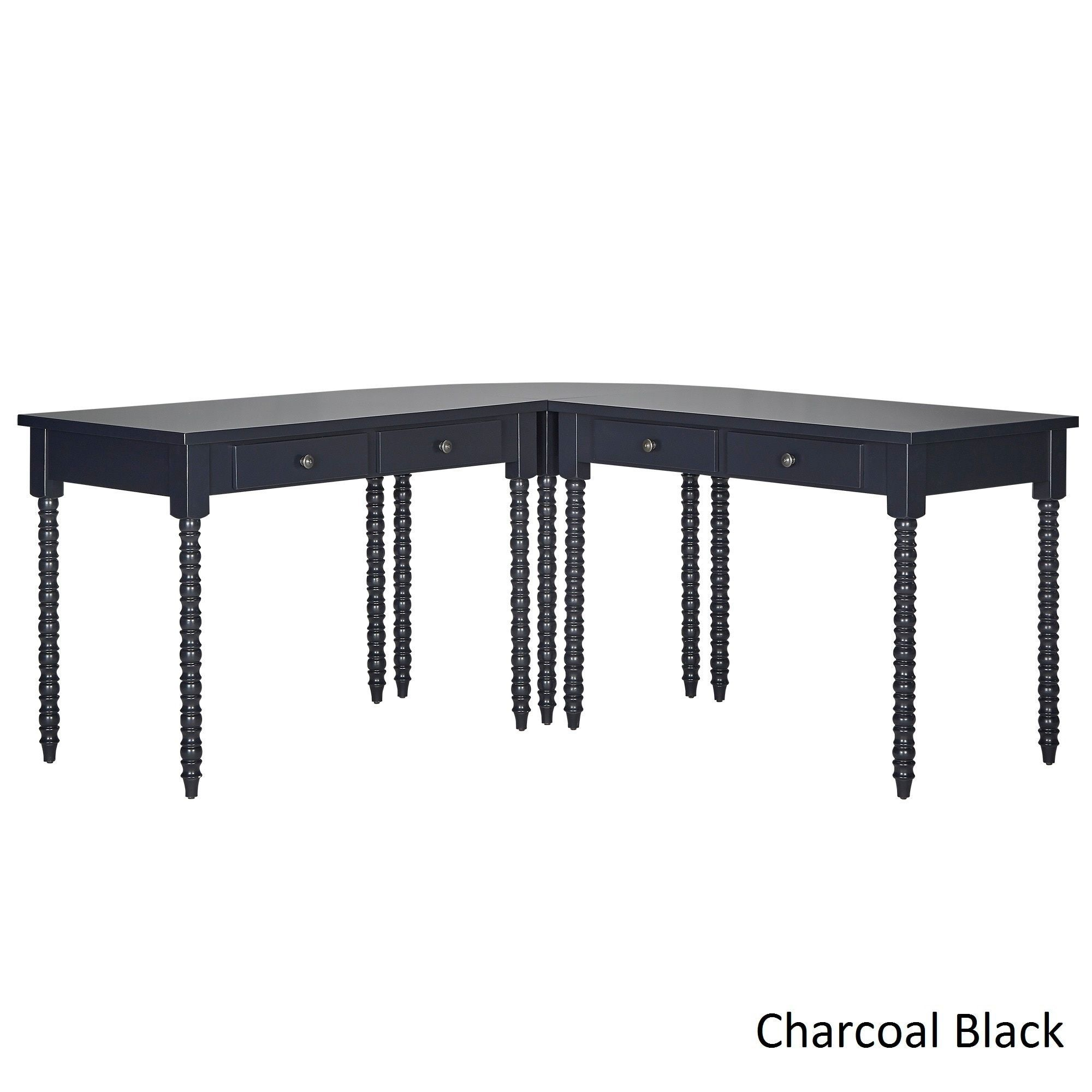 Lyndale L-Shaped Helix Legs Corner Office Desk by Inspire Q (Charcoal Black)