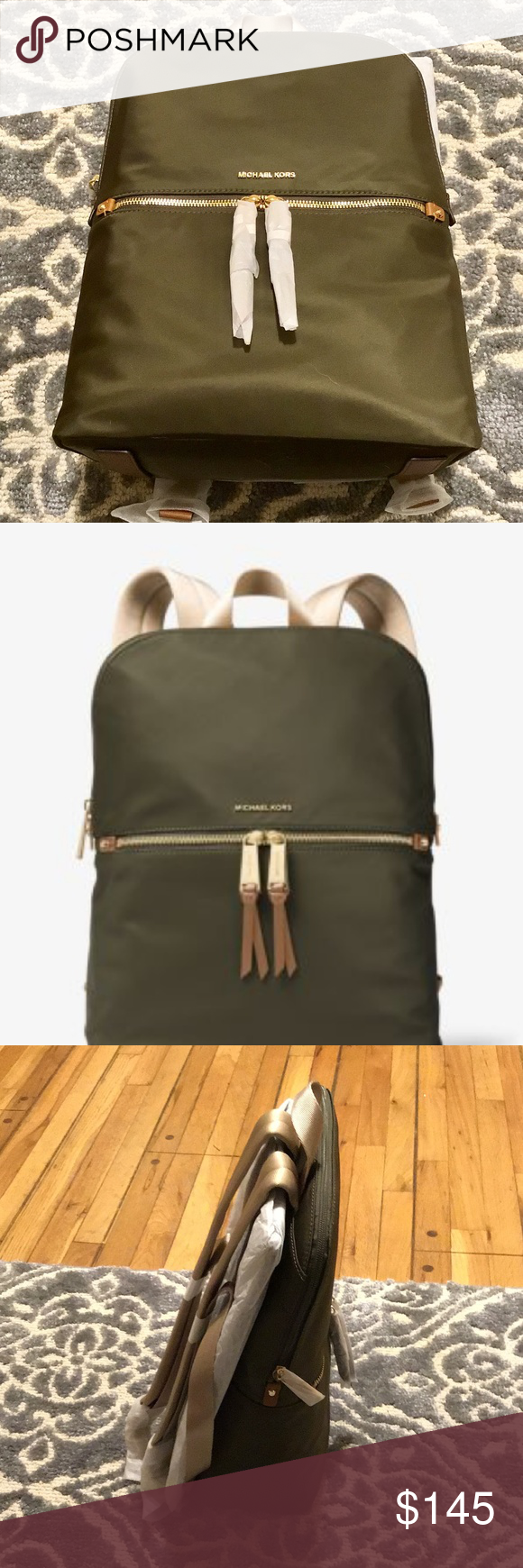 32b21ed2d532 MICHAEL KORS Polly Medium Nylon Backpack NEW WITH TAGS MICHAEL MICHAEL KORS  Polly Medium Nylon Backpack COLOR OLIVE Size No Size • 100% Nylon •  Gold-Tone ...