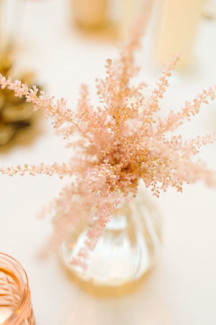 Wedding decorations gold and pink  Blush Pink Wedding Flower Ideas  Gold candles Blush pink wedding
