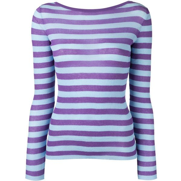 Ermanno Scervino striped V-neck jumper (1.070 BRL) ❤ liked on ...