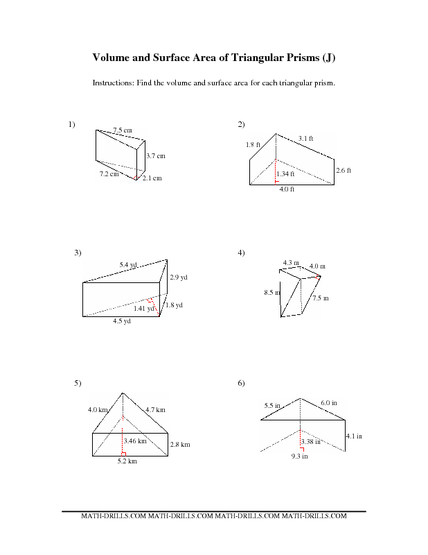 Worksheets Surface Area Triangular Prism Worksheet area worksheets surface and on pinterest volume of trapezoidal prism worksheet a triangular worksheets