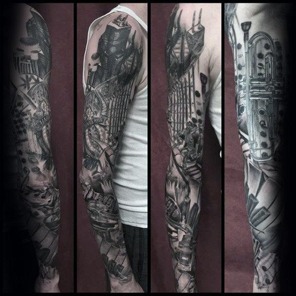 Photo of 60 Music Sleeve Tattoos For Men – Lyrical Ink Design Ideas