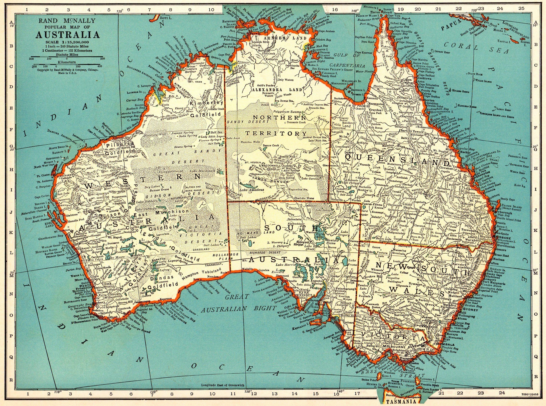 1937 Antique MAP of AUSTRALIA Vintage Australia Map