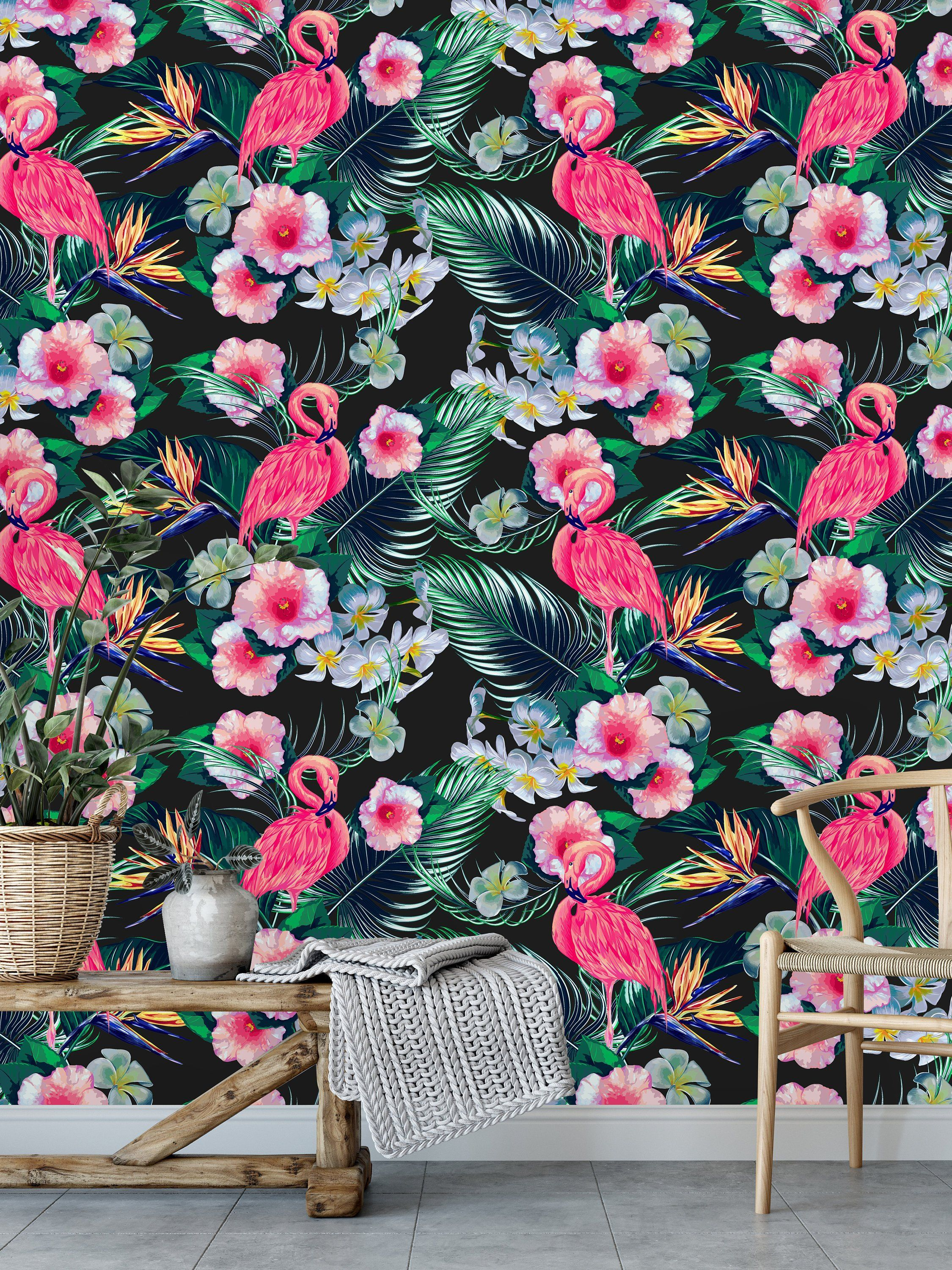 Pink Flamingos on Black Removable WallpaperPeel and Stick