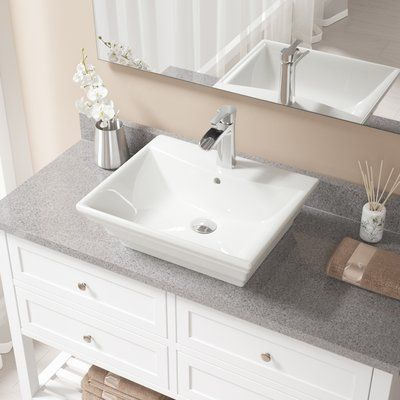 MRDirect Vitreous China Rectangular Vessel Bathroom Sink with Faucet and Overflow | Wayfair#bathroom #china #faucet #mrdirect #overflow #rectangular #sink #vessel #vitreous #wayfair