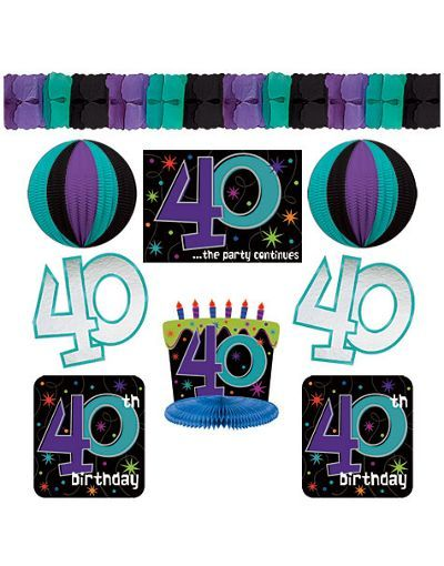 The Party Continues 40th Birthday Decorating Kit 9pc Decorations Supplies Adult