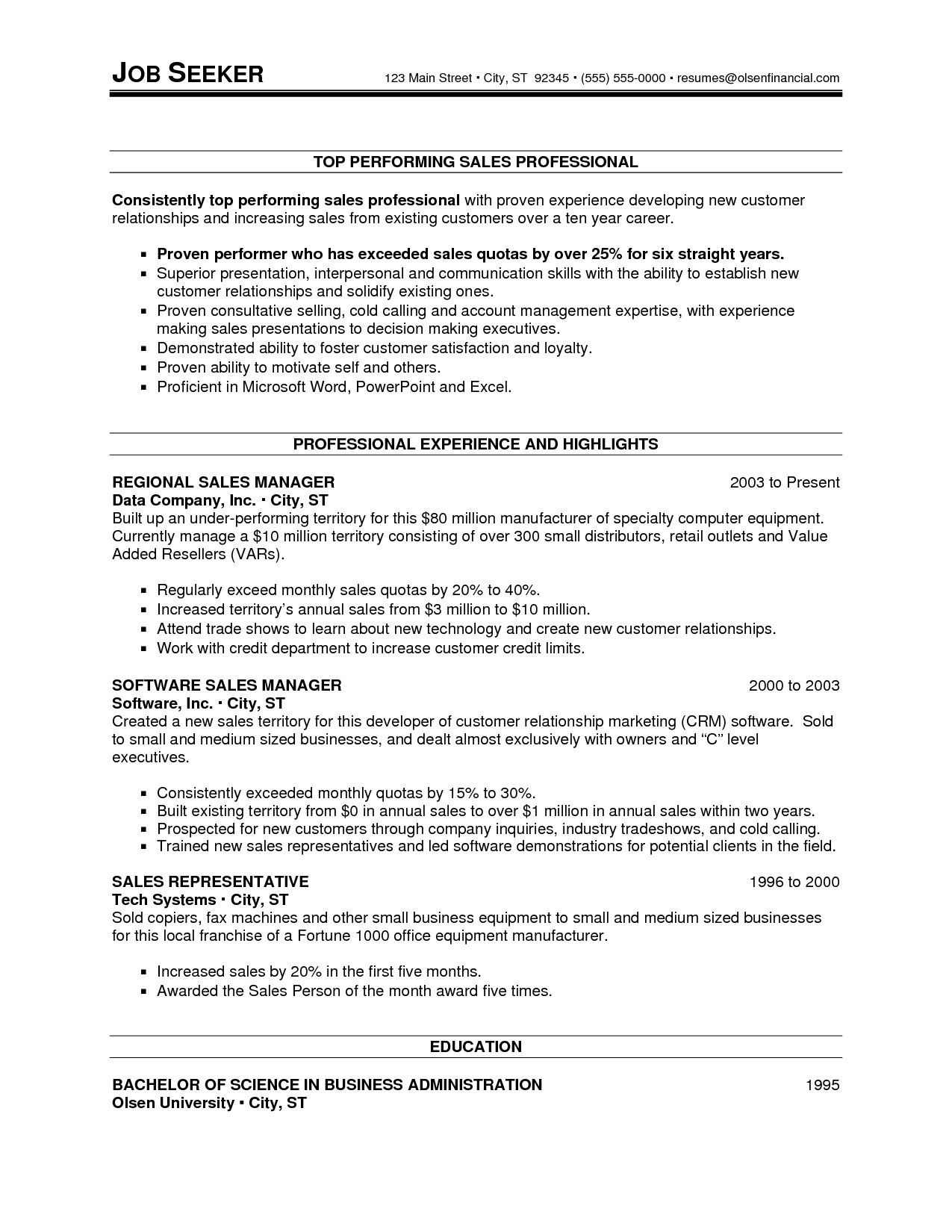 Resume For Experienced Sales Professional
