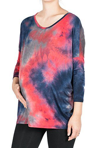 Beachcoco Womens Maternity Soft Tie Dye 34 Length Sleeve Print Top L Multi T >>> To view further for this item, visit the image link. (This is an affiliate link and I receive a commission for the sales)