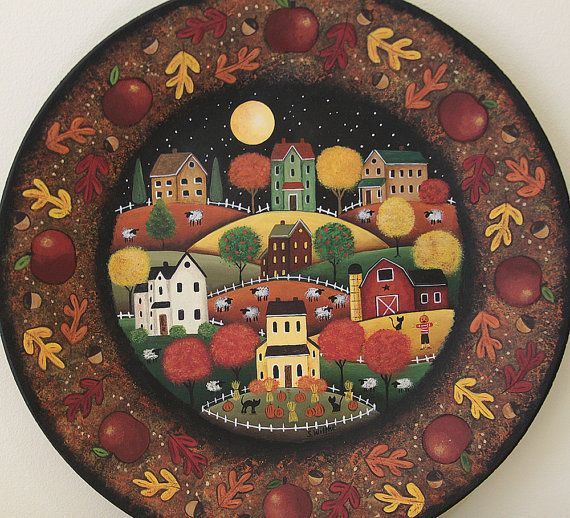 Primitive Fall Folk Art Plate Rustic Village Red Barn Saltbox Houses Autumn Leaves Apples Scarecrow Sheep Halloween MADE TO ORDER & Primitive Fall Folk Art Plate Rustic Village Red Barn Saltbox ...
