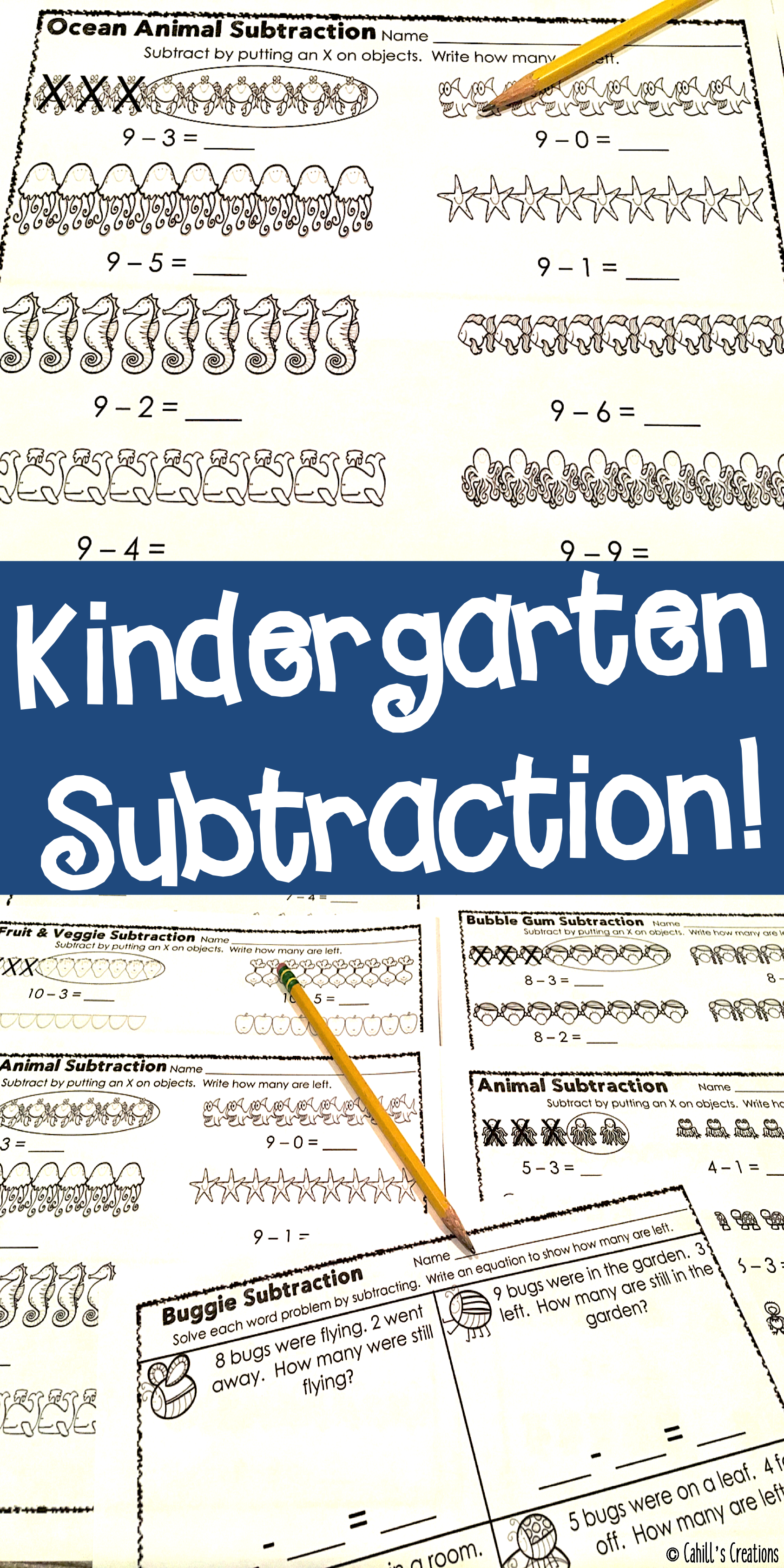 Distance Learning Kindergarten Subtraction Worksheets