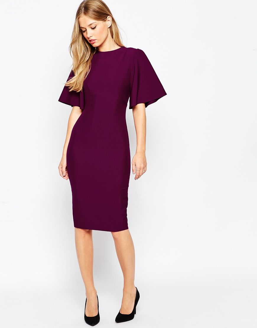 ASOS | ASOS Exaggerated Angel Sleeve Pencil Dress with Open Back ...