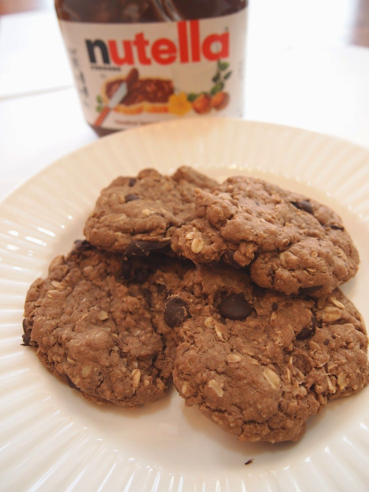 Gluten Free Desserts made Delicious: Nutella Oatmeal Chocolate Chip Cookies #chocolates #sweet #yummy #delicious #food #chocolaterecipes #choco