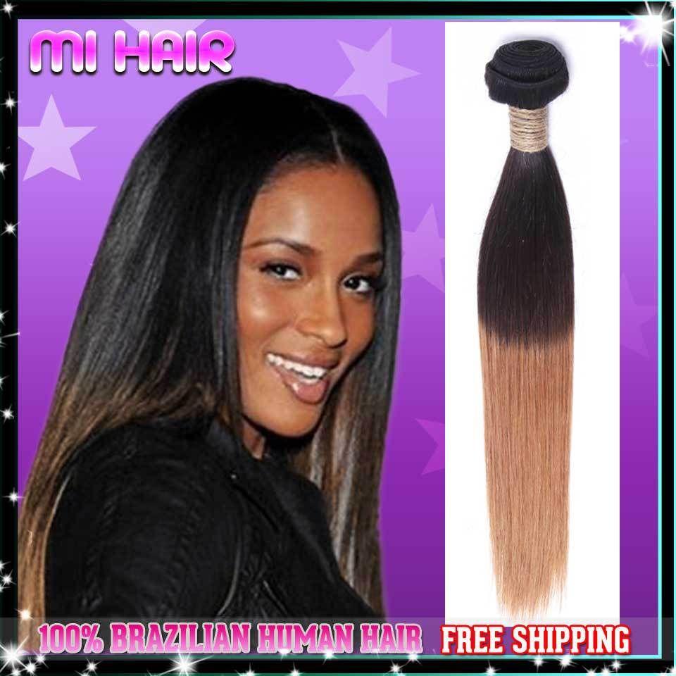 3pcs Lot 5a Brazilian Ombre Hair Weave Straight Two Tone Human Hair
