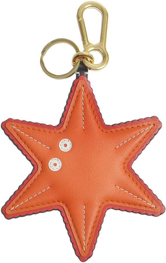 Starfish Charm Bag Accessory in Orange and Black Calfskin and Brass Loewe 8d7yI