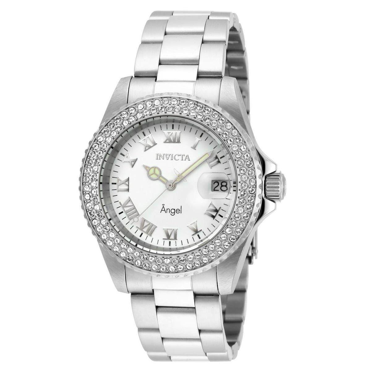 Invicta 20502 Women's Angel Crystal Accented Bezel White Dial Steel Bracelet Dive Watch