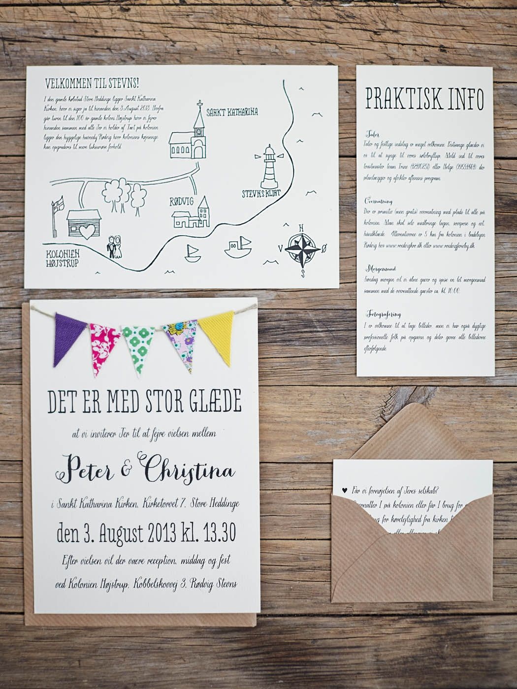 Cute wedding invitations, bunting wedding invitations. Beautiful DIY ...